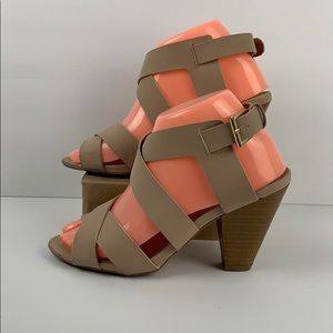 Qupid Nude Strapy Heeled Sandals